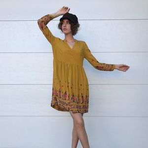 Anthropologie Floreat embroidered mustard dress XS
